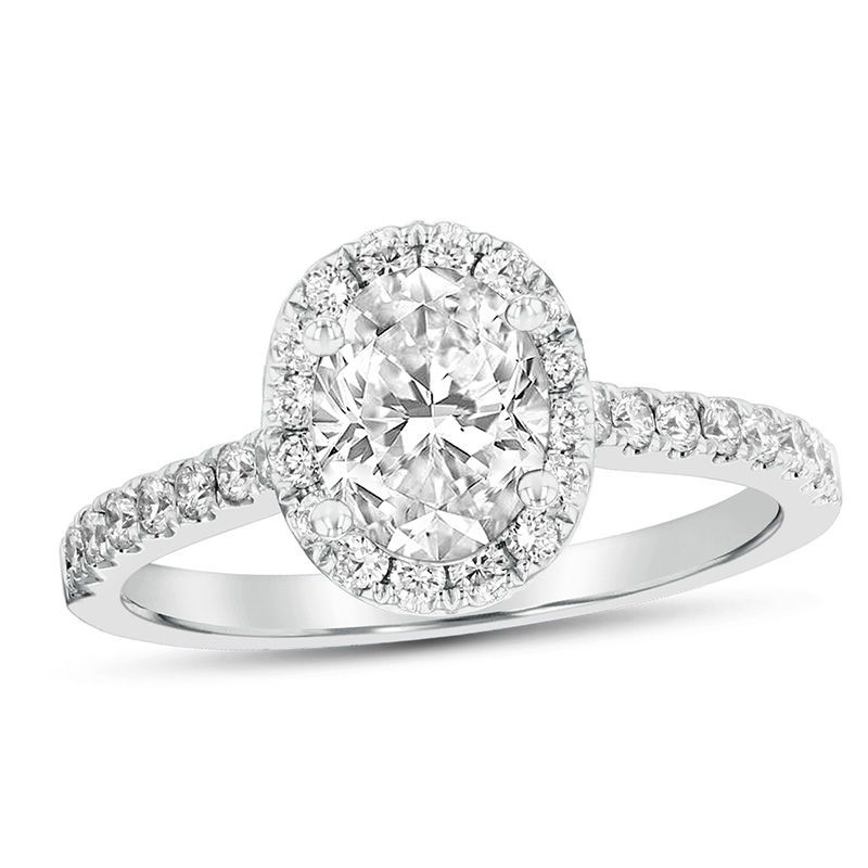 1 CT. T.W. Oval Diamond Frame Engagement Ring In Platinum