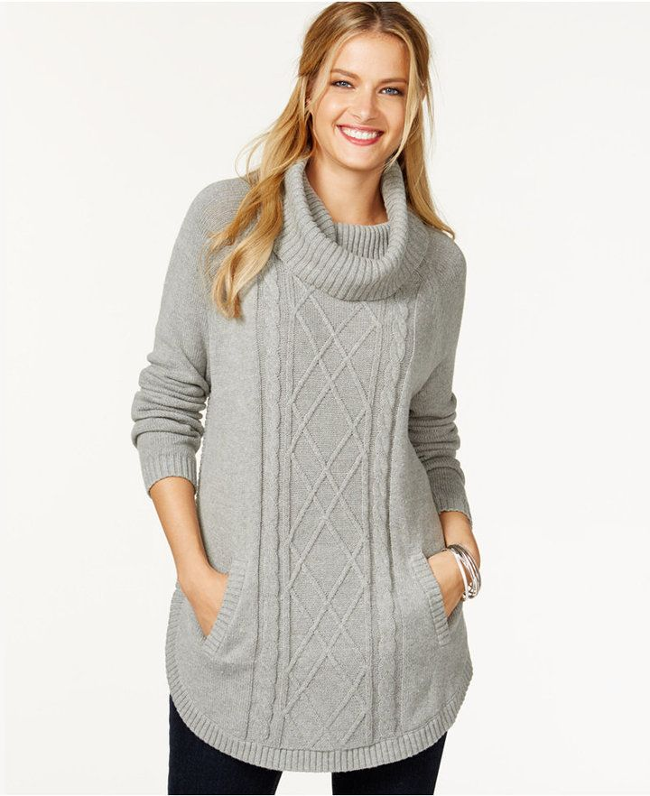 Charter Club Cowl-Neck Cable Sweater, Only at Macy's
