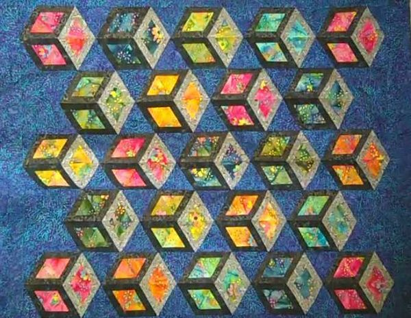 tumbling blocks quilt pattern   Thread: Tumbling blocks - How to ... : how to start a quilt - Adamdwight.com