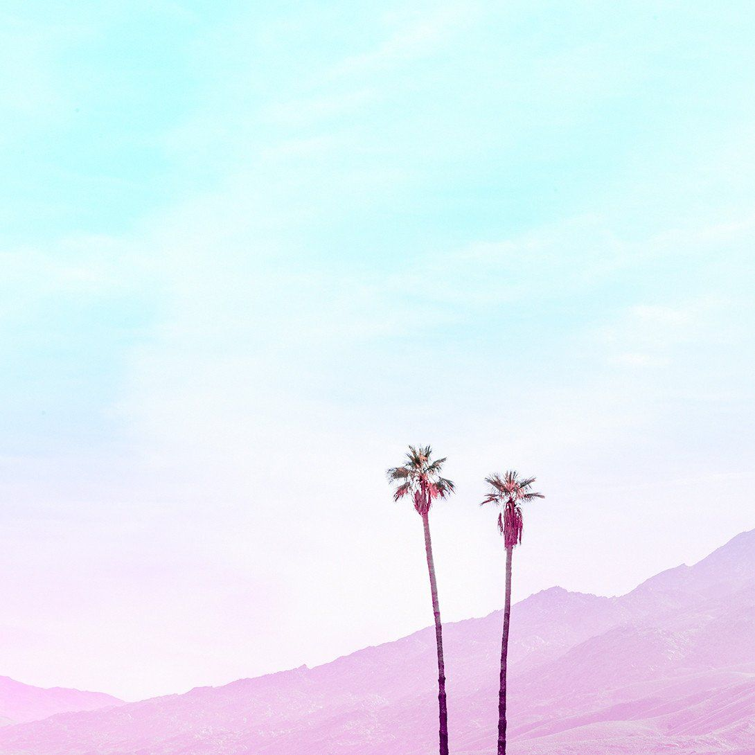 Palms And Mountains Iphone Minimalist Wallpaper Landscape
