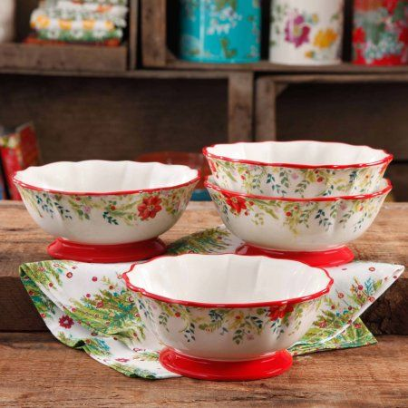"""The Pioneer Woman Holiday Cheer 7"""" Footed Bowl, Set of 4"""
