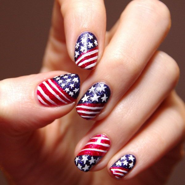 if u thinking of how could do a flag designs. Find out 30 diy American flag  nail art designs. Cute and easy to make american flag nails, Photos,  Tutorials. - Patriotic Glitter Stars And Stripes Nail Art: Go With The Classic