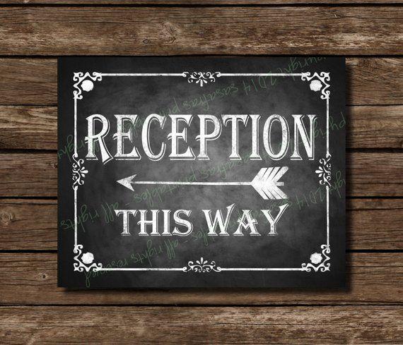 Wedding Reception Signs Ideas: Chalkboard Printable Wedding Reception Sign, Direction