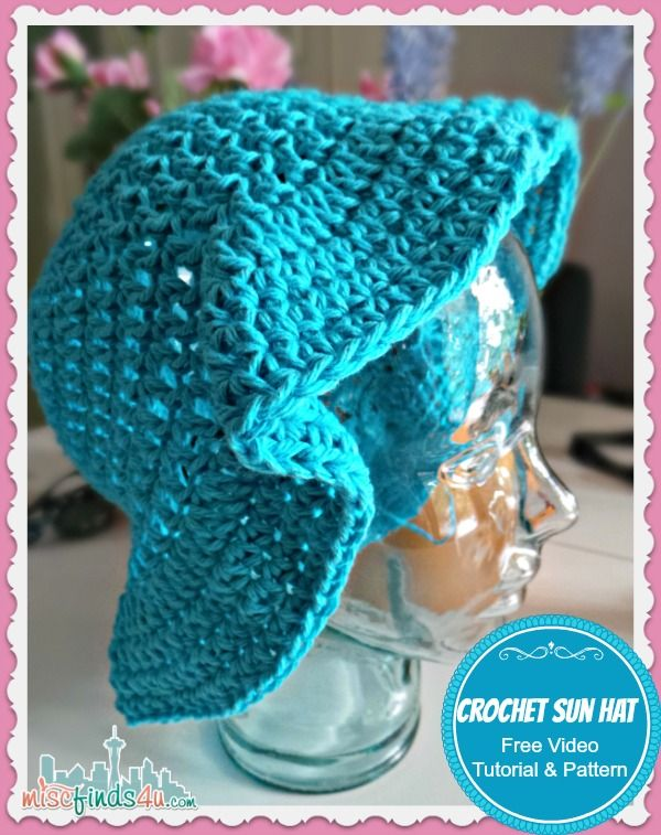 Free Crochet Sun Hat Pattern and Video Tutorial | Gorros crochet ...