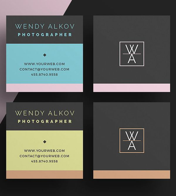 22 Mini Square Business Card Psd Templates Design Square Business Cards Free Business Card Templates Square Business Card