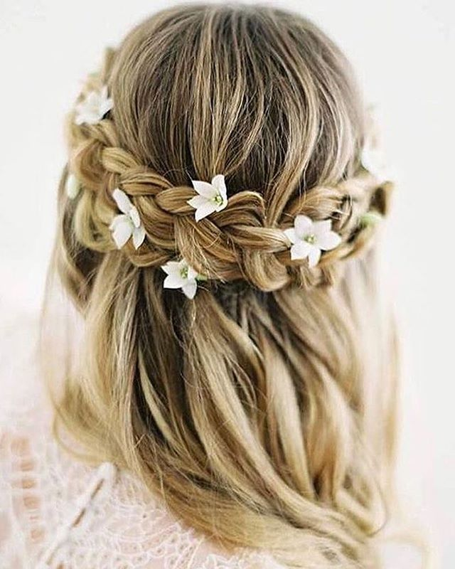 Half Up Half Down Braided Wedding Hairstyles: Dutch Crown Braided Half Up Half Down Hairstyle
