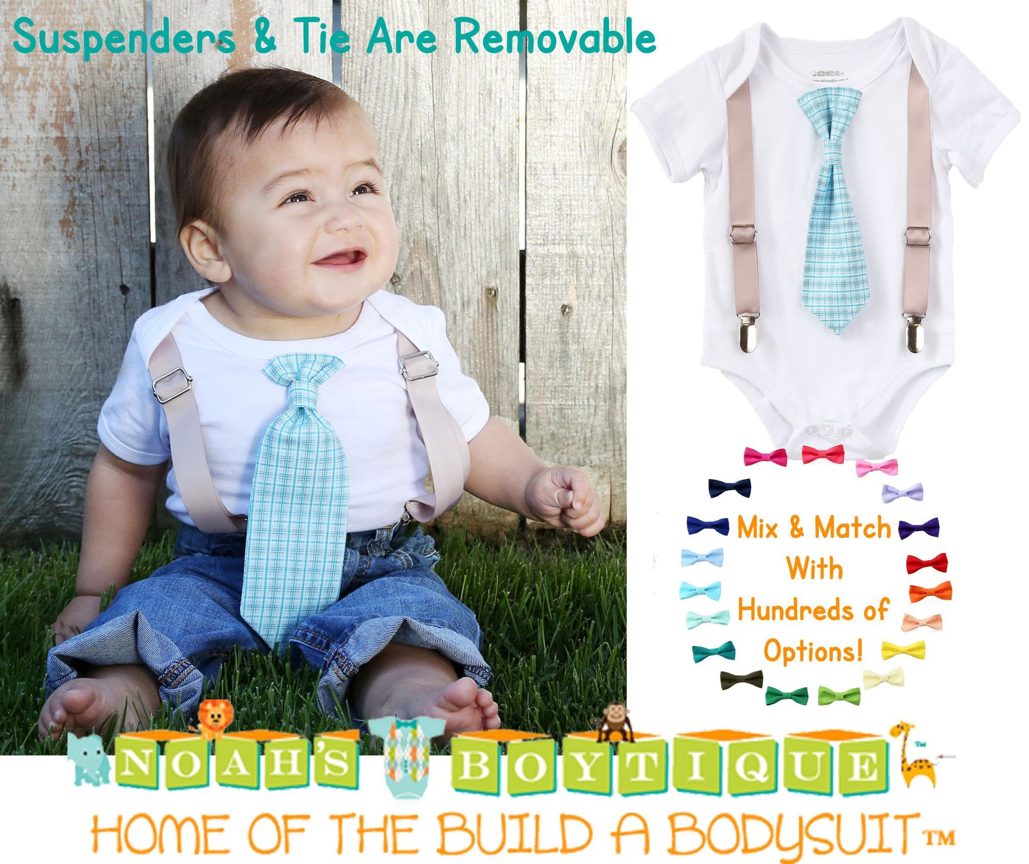 f0defa8cc61c Baby Boy Suspender Outfit - Light Blue Plaid Tie - Tan Suspenders - Baby Boy  Clothes - Toddler - Tie Outfit - Baby Ties - Spring - Wedding - Noah's  Boytique