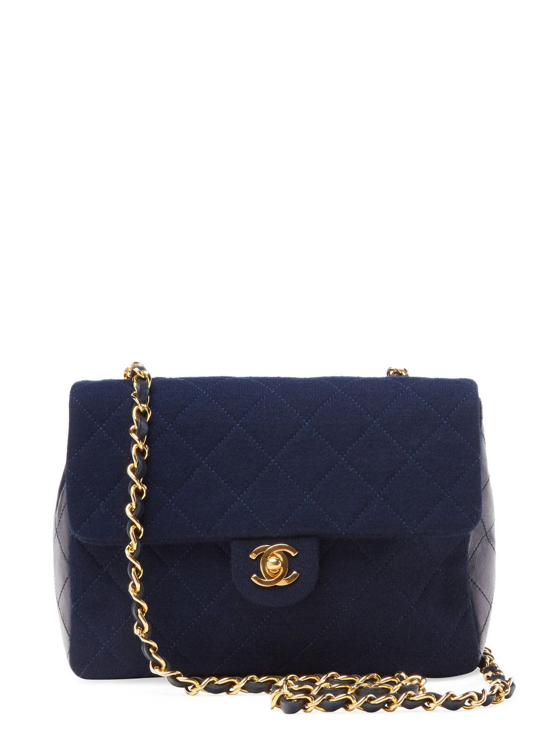 a1abaa71d5c Rare Navy Jersey   Lambskin Classic Flap Small Square by Chanel at Gilt