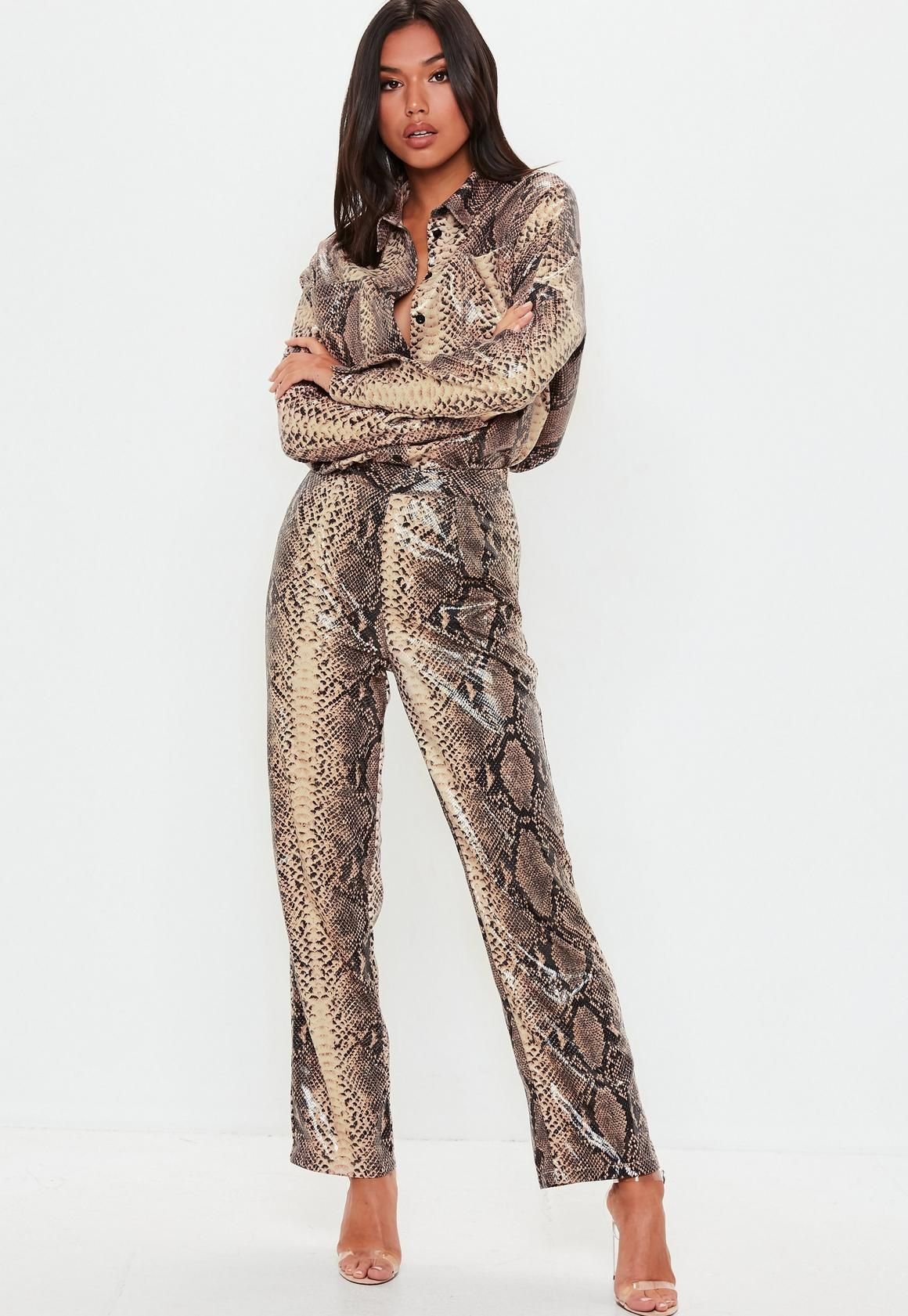 2a421239ee Missguided Tall Brown Snake Print Shiny Wide Leg Pants in 2019 ...