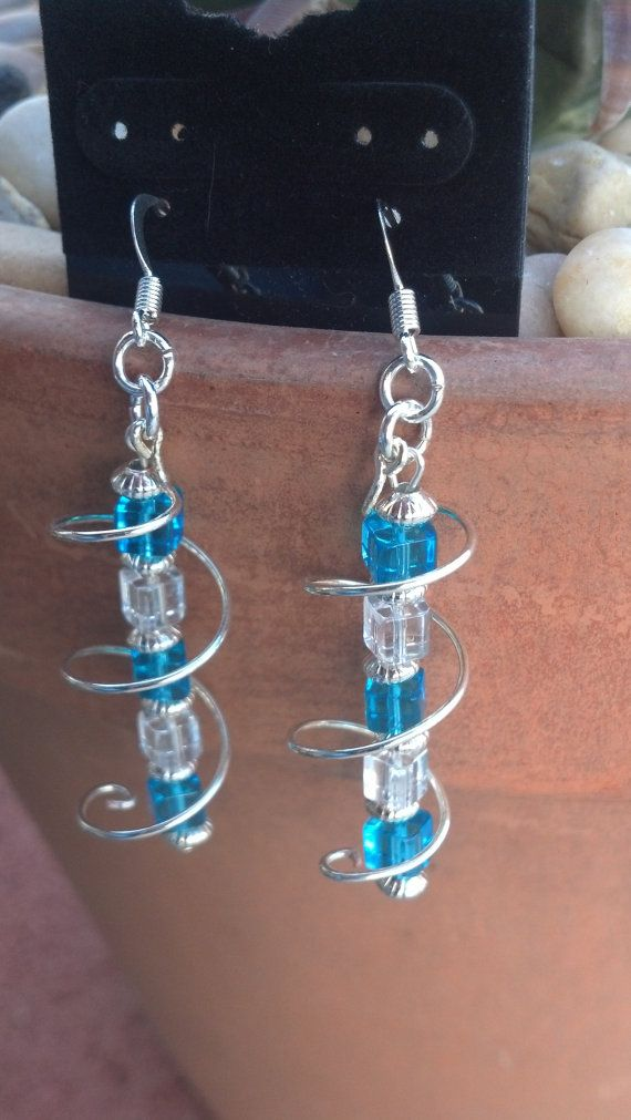 Blue clear and silver spiral earrings by Natjerm on Etsy, $8.00
