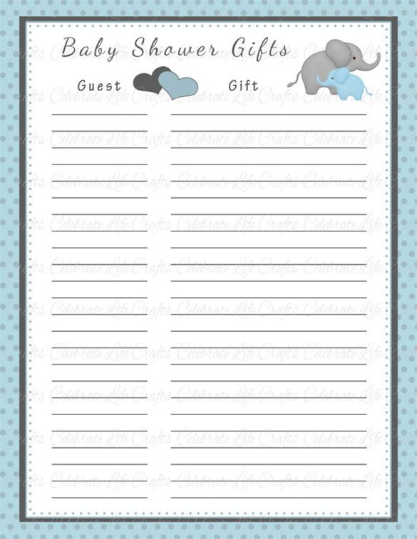 Baby shower gift list template 8 free word excel pdf for Baby shower game booklet template
