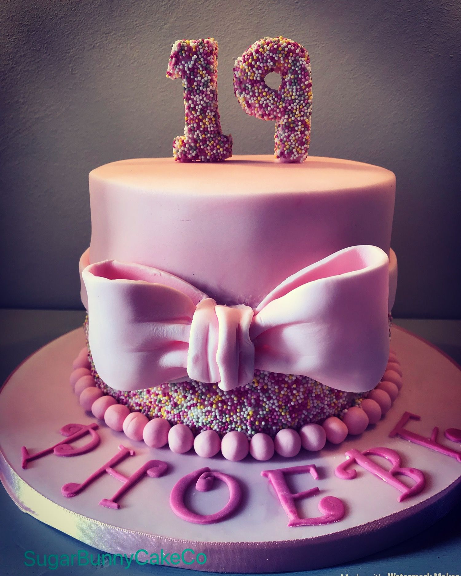 19th Birthday Pink Sprinkle Bow Cake With Images 19th Birthday