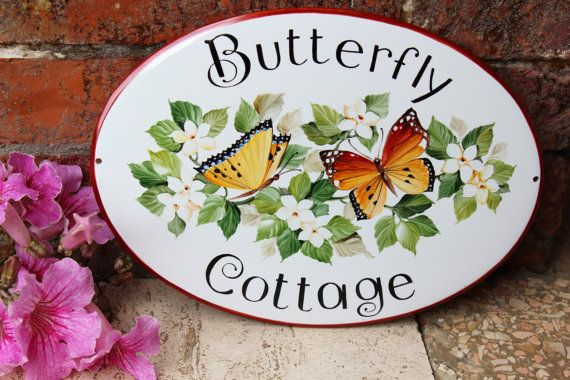 Personalized butterflies House name sign Address plaque Cottage