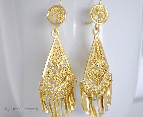 Gold Mexican Dangle Drop Earrings