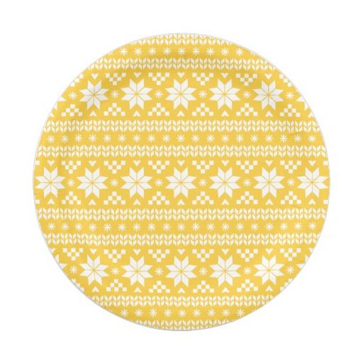 Yellow Fair Isle Christmas Sweater Pattern Paper Plate | Fair ...