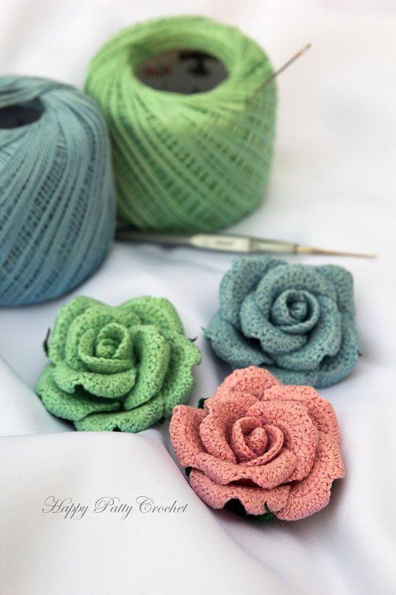 Crochet Flower Applique Pattern - Crochet Rose Pattern - Crochet ...