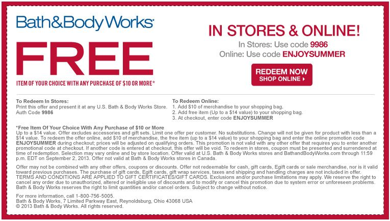 Hot Free Item With 10 00 Purchase Bath And Body Works