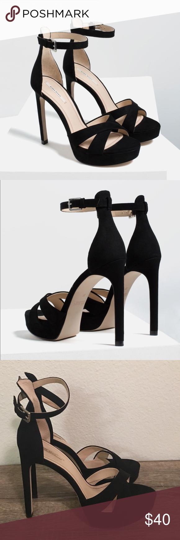 ee42f0da2513 High heels platform sandals Zara black high heels size 9.5