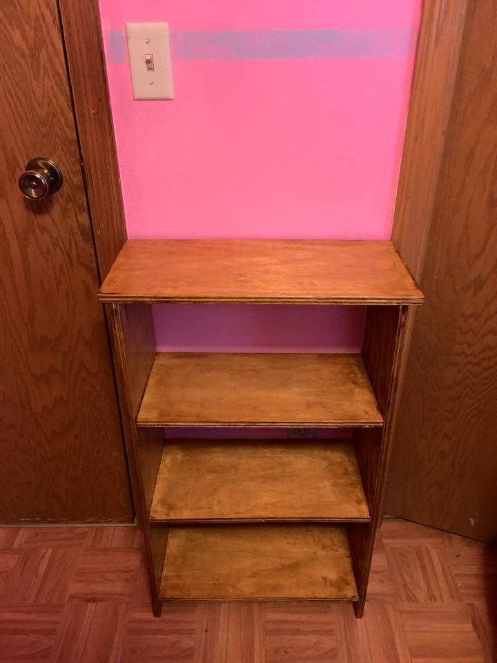 Basic children's bookshelf, oak stain with gold sparkle, open back to allow for access to wall outlets
