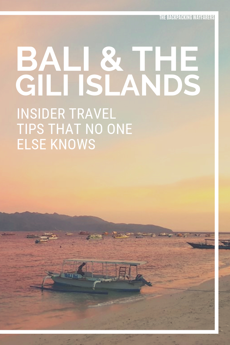 Thinking of visiting beautiful Bali and the gorgeous Gili Islands? You'll 100% love it! Check out our blog post for essential tips, tricks & personal recommendations for exploring Bali and the Gili Islands on a backpacker budget! #Bali #GiliIslands #GiliTrawangan #GiliMeno #GiliAir #paradise #travelblog #travelrecommendations #gotobali #travelbali #indonesia #traveltobali #backpacker #backpacking #budget #beach #balibeach #getaroundbali #travelbali #travellers #asia #tropicalisland #traveltips