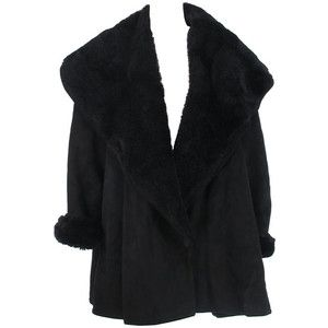 1980s Calvin Klein black shearling swing coat | fashion ...