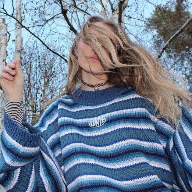 Knitted oversized blue sweater