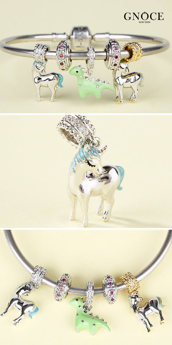 ab1e0d392f603 Gnoce Cute Animal Charm Bracelet. 925 Sterling Silver Green ...