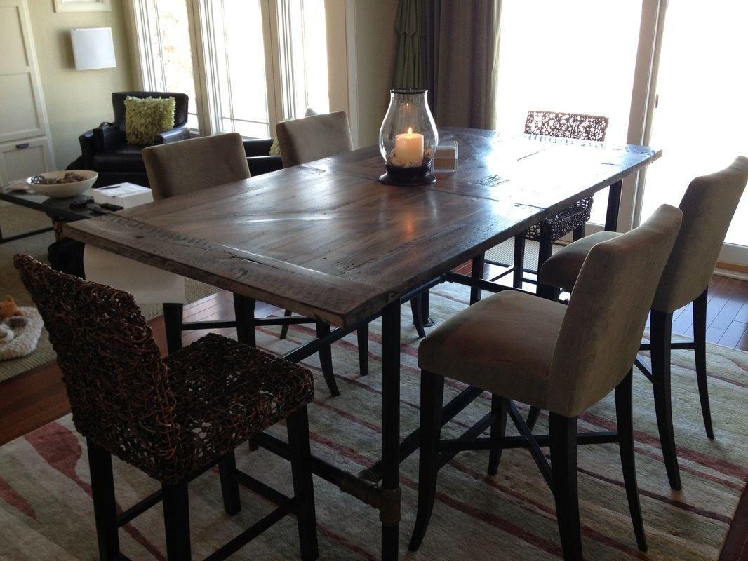 Barn door style pub high dining table reclaimed tables pinterest