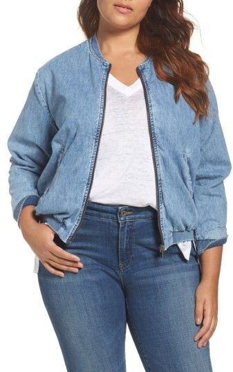 d42b69e3d3e2c Lucky Brand Plus Size Women s Denim Bomber Jacket
