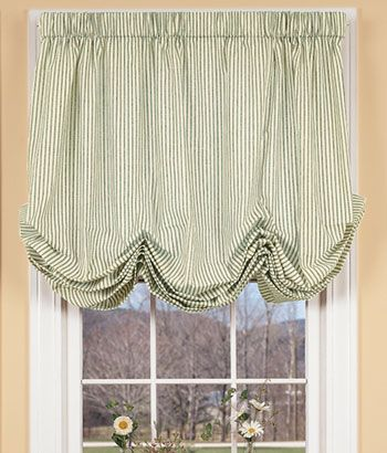 Ticking Stripes Balloon Curtain French Country In Laundry