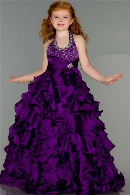 Fantasy Ball Halter Purple Ruffle Beaded Little Girl Pageant Dance ...