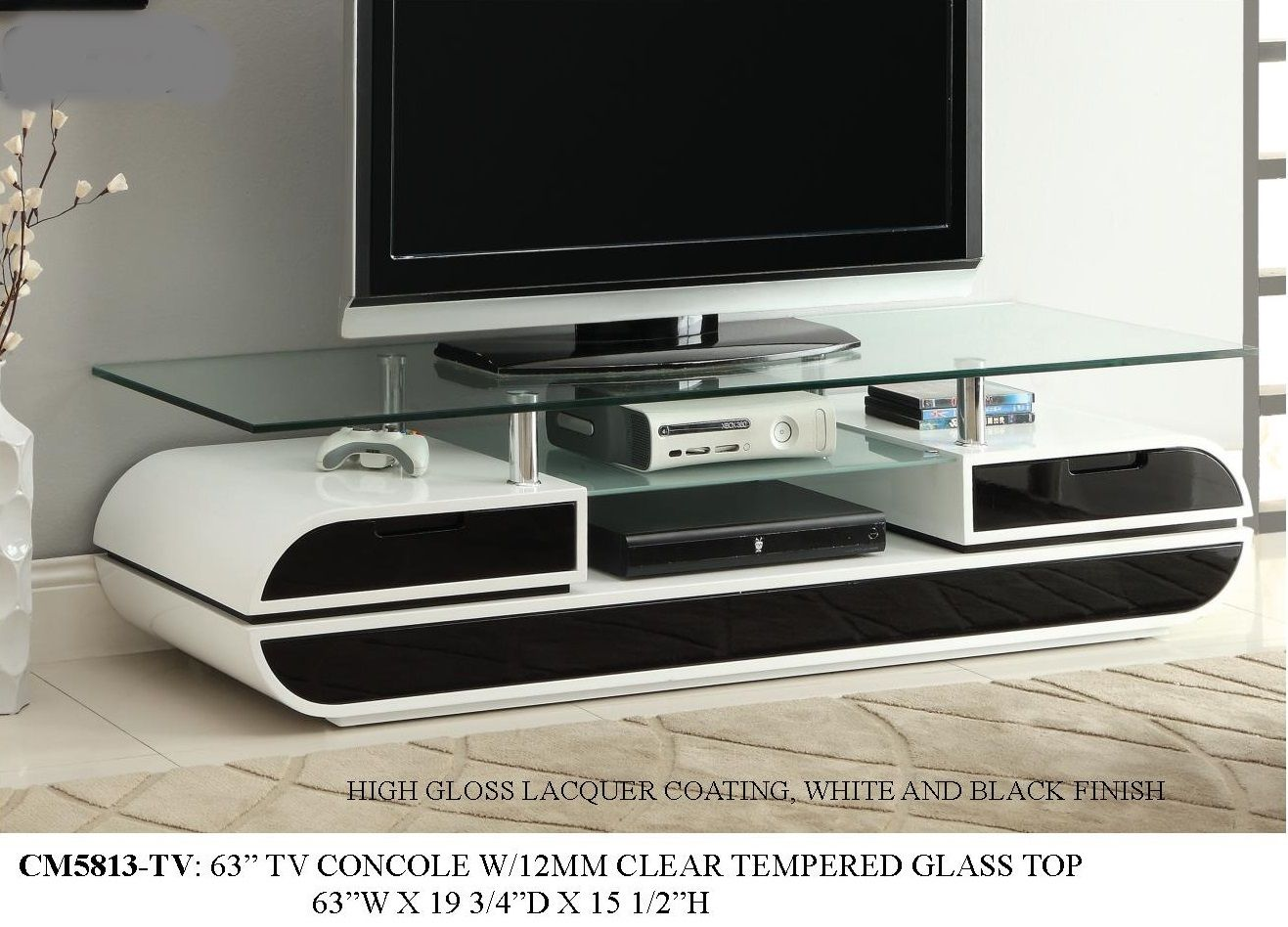 W5813 63 tv stand white and black lacquer finish home decor w5813 63 tv stand white and black lacquer finish geotapseo Image collections
