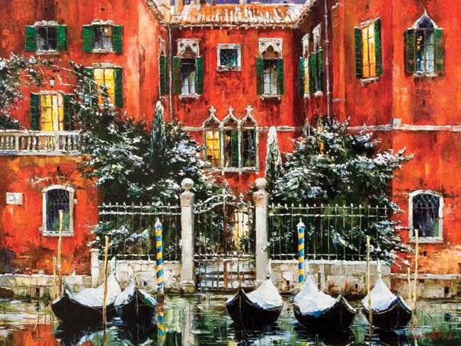 Christmas In Venice By Gleb Goloubetski Venise Peintre Aquarelle