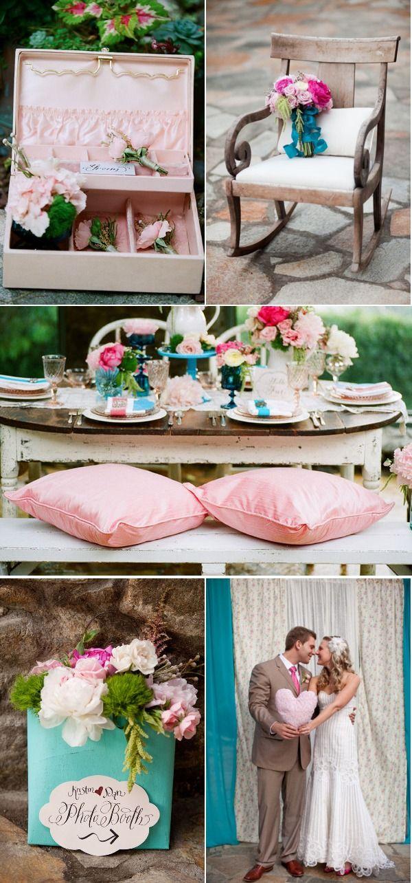 pink and turquoise wedding