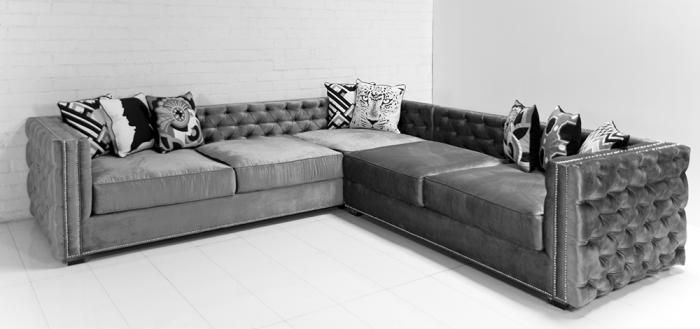 Inside Out New Deep Sectional in Steel Grey Velvet-Modern Sectionals : deep sectional - Sectionals, Sofas & Couches