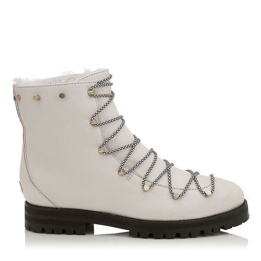 JIMMY CHOO DRAKE FLAT White Grainy Leather Combat Boots with Shearling  Lining. #jimmychoo #