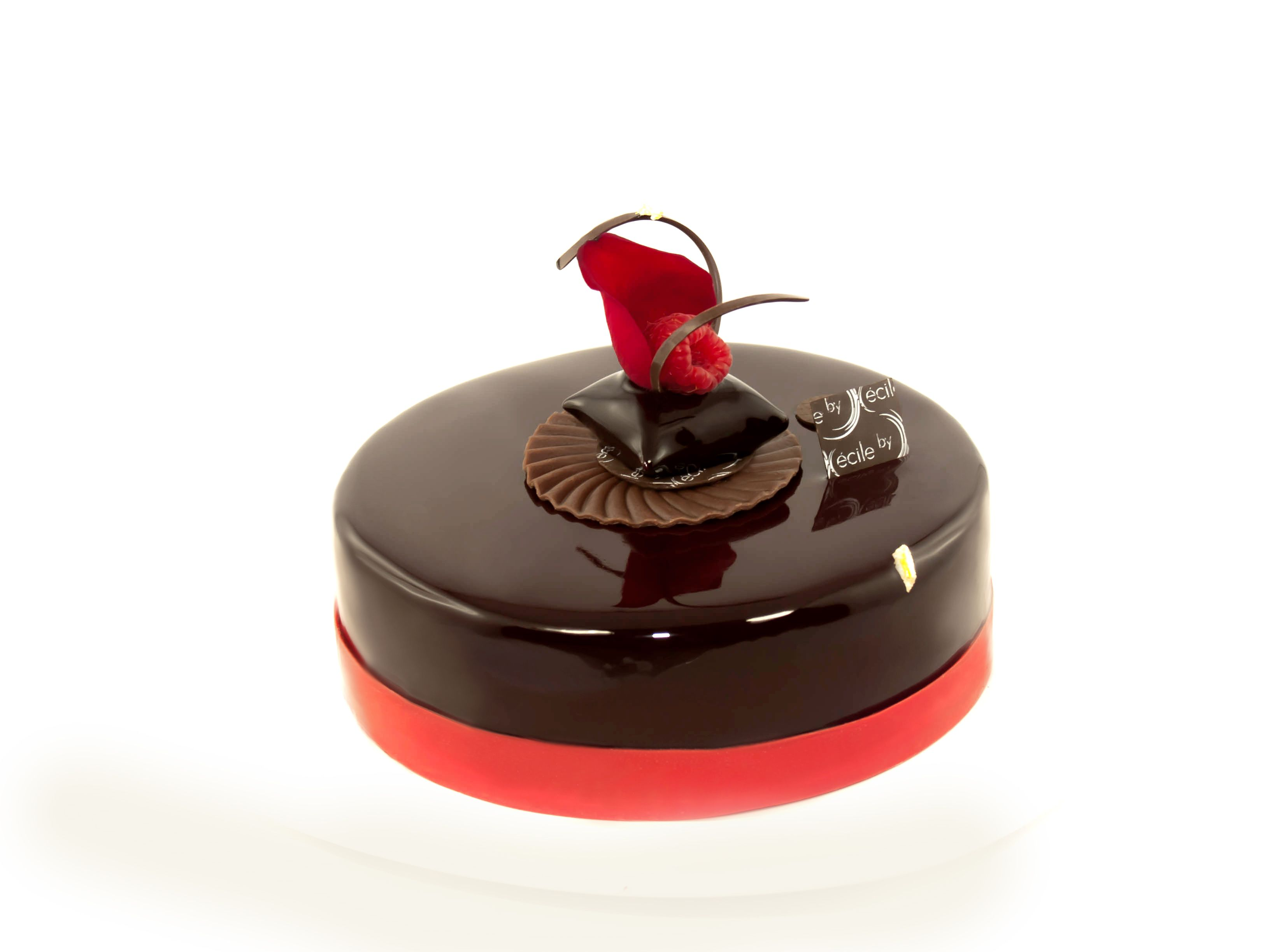 Entremets choco framboise croustillant pralin biscuit for Glacage miroir rose