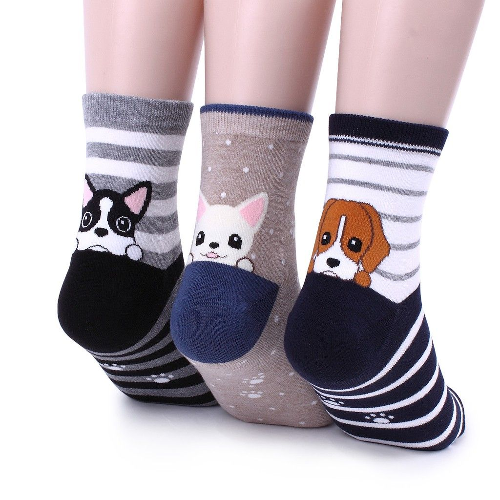 Animal Cat Socks Rolled Top Women Casual Cute Ankle Cotton