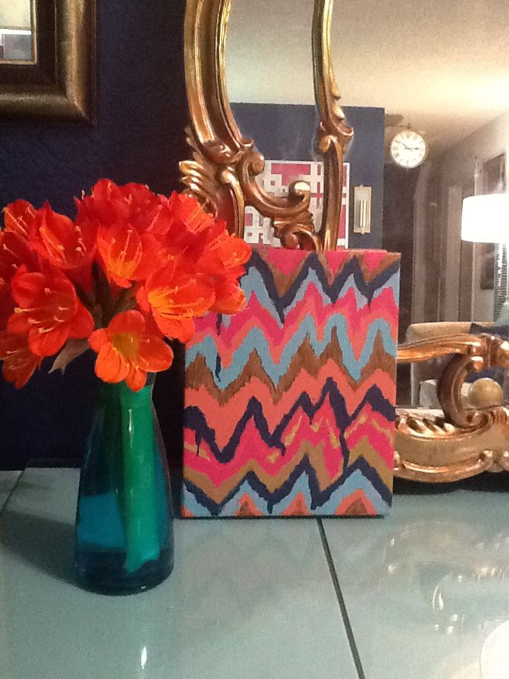 DIY Ikat Chevron painting on canvas! So chic! So easy!