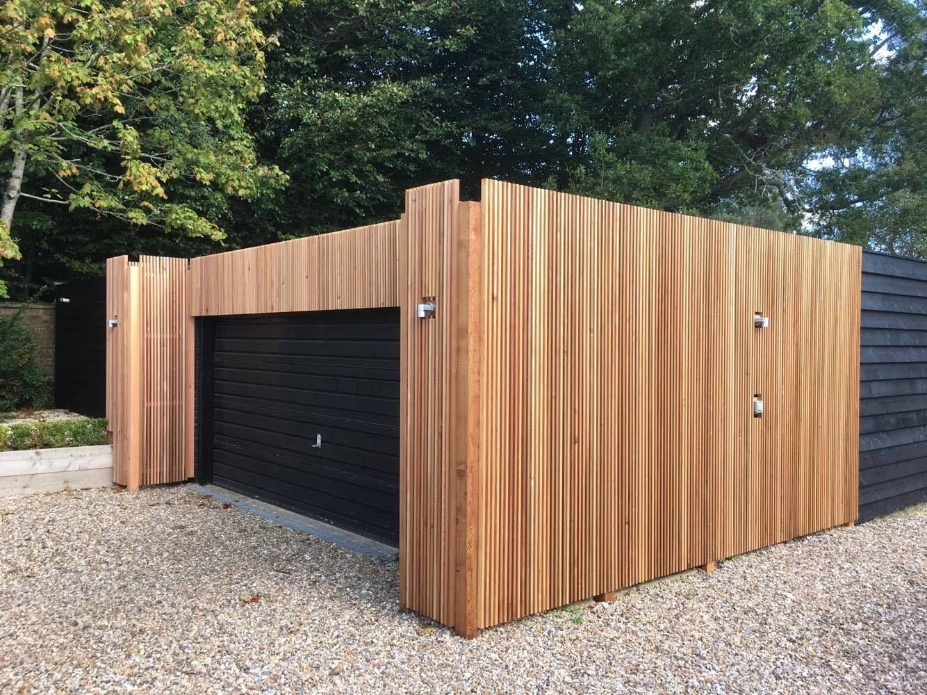 Pin On Stunning Cedar Clad Garage Using 18 X 38mm P A R Vertical Slats