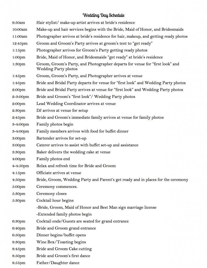 Wedding Day Schedule To Keep Your Running Smoothly Use This Timeline As A Sample And Tailor It Meet Needs Planning Own