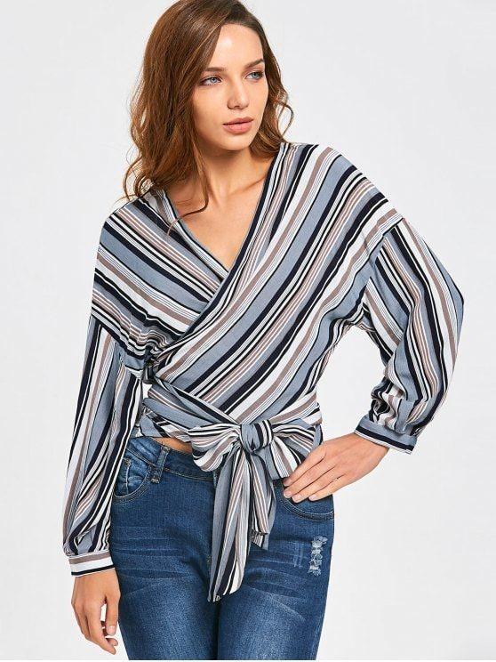 46862bb638694 Front Knot Drop Shoulder Striped Wrap Blouse - STRIPE S