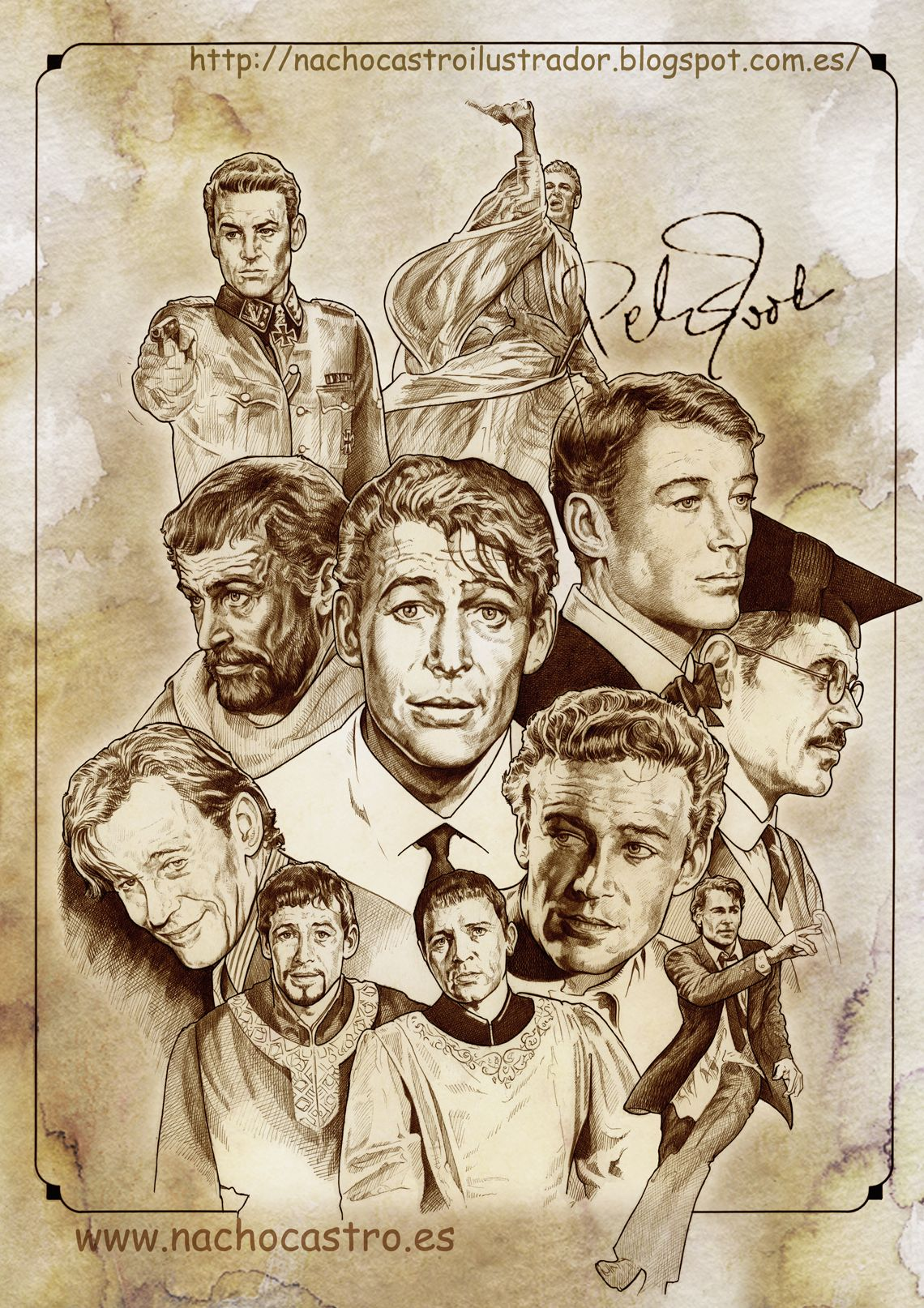 "Peter O´Toole,illustration from the book ""men of Hollywood"".Nacho Castro.Diábolo Ediciones"