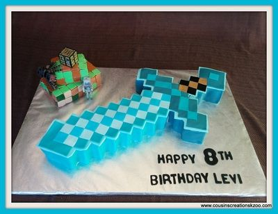 Minecraft Diamond Sword Cake Cousin S Creations Birthday Cakes For Guys