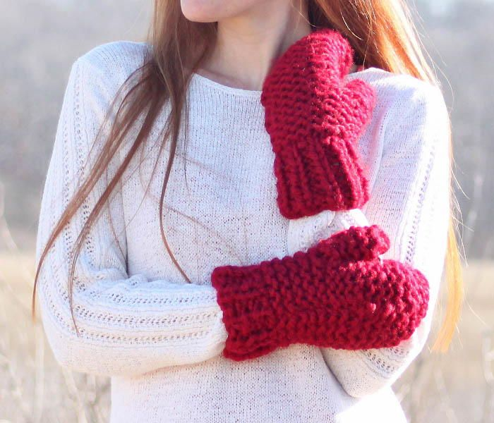 Incredibly Easy Chunky Mittens Mittens Knit Patterns And Knit Mittens