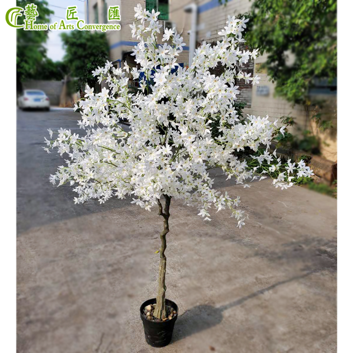 170cm White Blossom Silk Flowering Tree In Pot Potted Trees Flowering Trees Artificial Cherry Blossom Tree