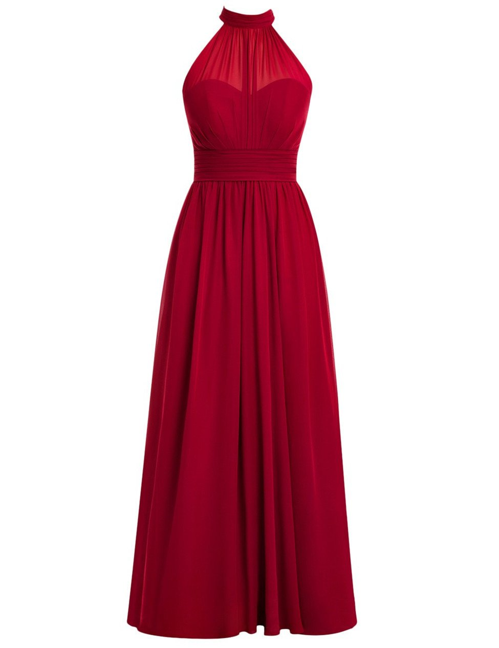 High neck evening dresssimple aline floor length burgundy prom