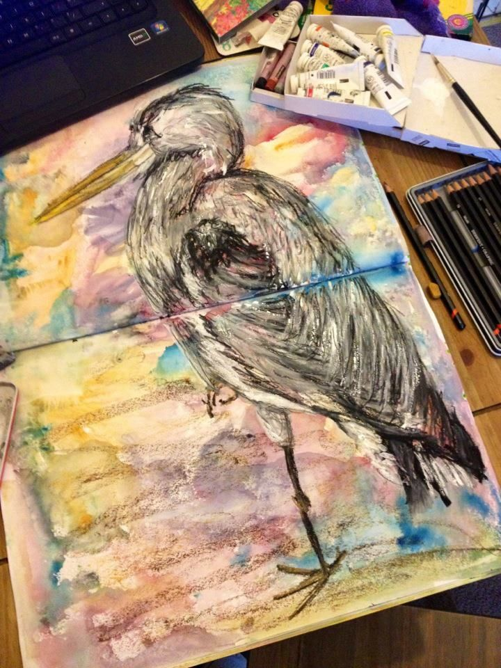 Oil Pastel with Watercolour background