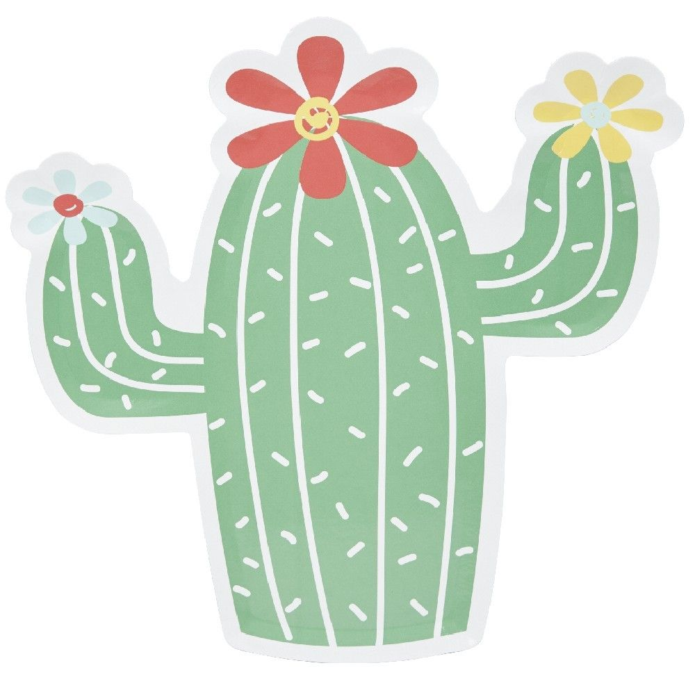 Assiette Jetable Carton En Forme De Cactus Fleuri X 10 Assiette Jetable Cactus Art De La Table