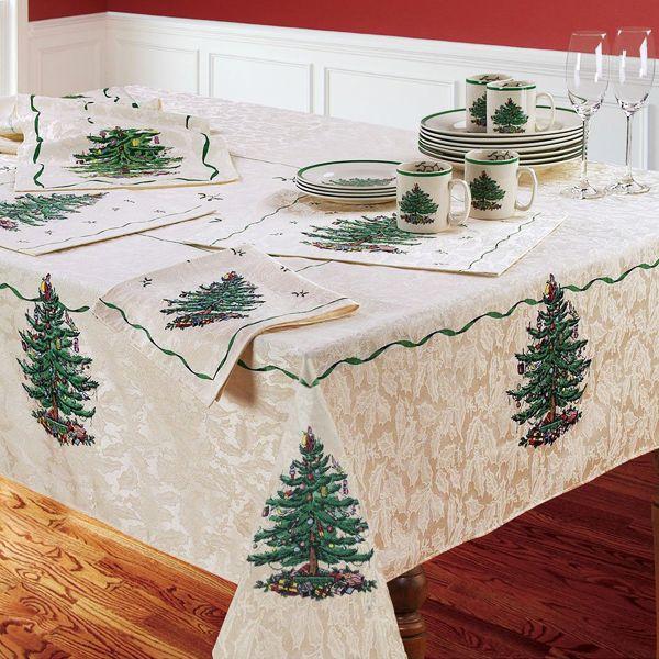Good Xmas Table Linen Part - 11: Spode Christmas Tablecloth - Spode Christmas Tree Table Linens